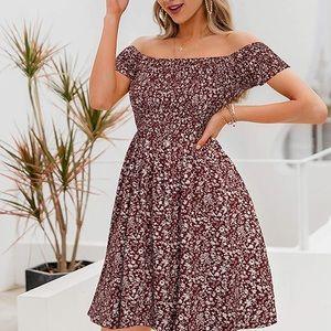 Off the Shoulder Boho Dress Floral Print Spring